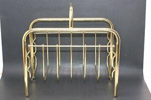 Vintage Magazine Newspaper Rack Brass Gold Metal Wire Design Mid Century Modern