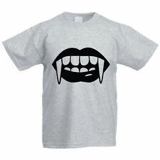 Miedo Colmillos-Halloween / Dracula / Dientes / Divertida Infantil Temática Camiseta