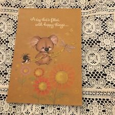 Vintage Greeting Card Birthday Charmers Koala Bear Banner Bird Flowers