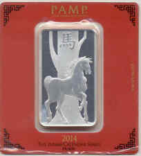 PAMP SUISSE 2014 Year Of The Horse 100 g PURE 999 SILVER Sealed Bar