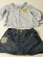 GIRLS X2 NEXT DENIM SKIRT BABY GAP BLUE WHITE LONG SLEEVE SHIRT AGE 18-24 MONTHS
