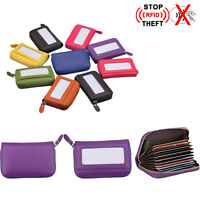 Genuine Leather RFID Blocking Wallet Security Credit Card Holder Purse Men Women