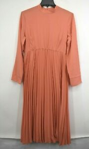 ASOS DESIGN Womens Orange Long Dress Maternity Pleated High Neck Midi Dress 8