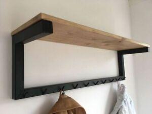 Mensola attaccapanni cappelliera appendiabiti vero legno ferro da parete muro