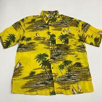 Billion Bay Button Up Shirt Men's Size 2XL XXL Short Sleeve Yellow Hawaiian