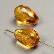 Pair of 12x8mm glamorous natural briolette teardrop Citrine stones TCW 9.7