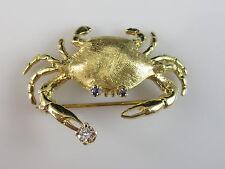 18K Crab Brooch Pin Diamond Blue Sapphire Yellow Gold Dine Jewelry 8.47gr