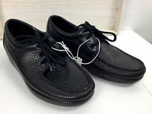 New SAS  Women  Comfort Shoes  Soft Step Heel Black Leather- Lace Up Sz 7 1/2N