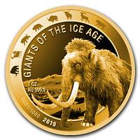 2019 Republic of Ghana 1 oz Gold Woolly Mammoth Proof - SKU#199608