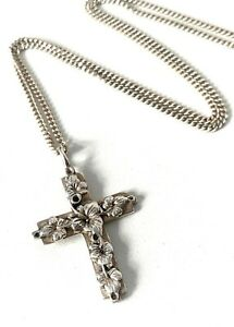 Vintage Solid Sterling Silver Floral Cross Pendant & Fine Flat Curb Necklace