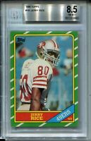 1986 Topps Football #161 Jerry Rice Rookie Card RC Graded BGS NM Mint+ 8.5 49ers