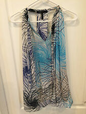NEW BCBG MAX AZRIA BLUE TANA LT SUNFLOWER HALTER TOP BLOUSE SIZE S $178