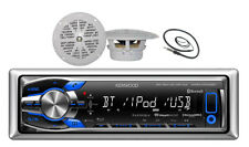 """New KMR-M318BT Boat MP3 USB iPod iPhone Bluetooth Receiver 4"""" New White Speakers"""