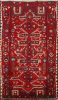 Geometric Traditional Oriental Area Rug Hand-Knotted Red Wool Kitchen Carpet 4x6