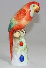 HEREND - Figur PAPAGEI Ara auf Baumstamm / Früchte Porzellanfigur - 25cm
