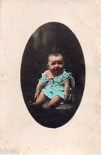 BJ372 Carte Photo vintage card RPPC Enfant portrait bébé colorié médaillon cadre