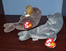 TY Beanie Baby JOLLY the Walrus & Slippery the Seal Retired With Tags
