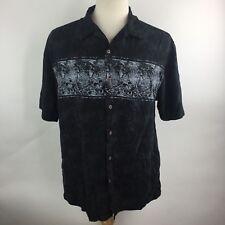 Ocean Pacific Men's Size Large Camp Hawaiian Shirt Short Sleeve Black