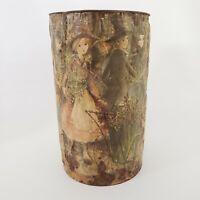 """J L Clark Trash Can Vintage Paper Mache Relief Art 14.5"""" T Figures City Scene IL"""