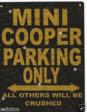 MINI COOPER PARKING METAL SIGN RUSTIC VINTAGE STYLE6x8in 20x15cm garageART