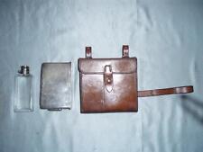 Antico Inglese Caccia Sandwich Box & Fiaschetta in pelle Custodia. (da Army & Navy)