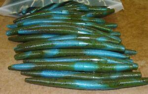 """5"""" Stick Senko Style Green Pumpkin Blue Swirl 50 count Bag Bass Worms"""