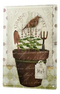 Plaque émaillée Cuisine Pot de fleurs menthe jardin pelle râteau oiseau