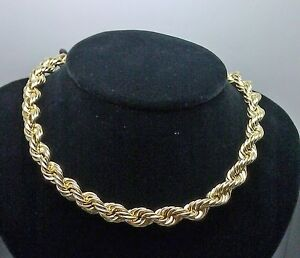 10K Yellow Gold Thick Rope Chain 22 inch 8mm Real 10kt Necklace Men