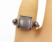 925 Sterling Silver - Vintage Black Onyx Square Cocktail Ring Sz 8.5 - R17274