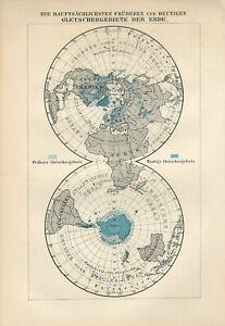 1895 WORLD GLACIERS NORTH POLE ARCTIC SOUTH POLE ANTARCTICA PLANIGLOBES AntiqMap