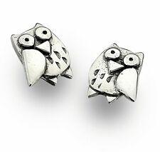 Sterling Silver 925 Small Cute Owl Stud Earrings Sea Gems Animal Lovers Gift