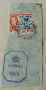 GAMBIA 1943 PIECE FROM COVER WITH 5 SHILLING STAMP & PASSED NN/3 LOZENGE CENSOR