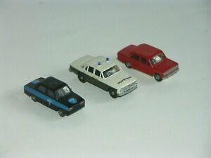 3 Modellautos 1:87 Lada / Moskwitsch / Volks-Polizei aus DDR Zeiten