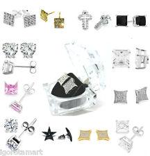 Men Women Fashion CZ Crystal Earrings Ear Stud Gold Silver Jewelry Gift -