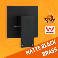 Matt Black Shower Mixer Tap Wall Square Cover Plate 1 Handle Watermark Brass