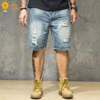 Summer Men's Denim Shorts Distressed Ripped Loose Retro Short Jeans Plus Size