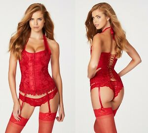 Frederick's of Hollywood DREAM HALTER BRIDAL CORSET Red Cosplay Costume size 32