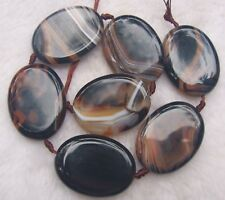30x40mm Dream Veins Agate Flat Oval Loose Beads 7pcs