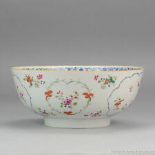 Large 18C Chinese Porcelain Famille Rose Bowl Flower Cartouches Antique