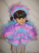 """COTTON CANDY FUR COAT & HAT FOR  18"""" DOLL"""
