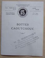 publicité BOTTES CAOUTCHOUC US RUBBER SYSTEM 1926 cachet Monniot Paris