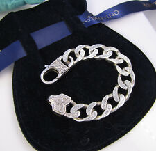 Estate Stunning  KONSTANTINO Sterling Silver Diamond Ornate Thick Link Bracelet