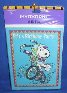 Pkg of 8 Hallmark Ambassador Peanuts Snoopy Birthday Party Invitations Dirt Bike