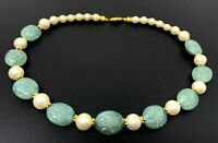 Vintage Green Jade Lucite Faux Pearls Gold Tone Beaded Necklace 18""