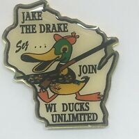 Vtg Jake The Drake Wisconsin Join Ducks Unlimited Epoxy Coat Tack Lapel Pin