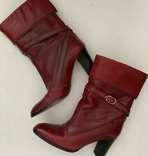 Vintage Etienne Aigner Heel Red Boots Ankle Calf Leather Zippers Size 7 N