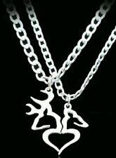 Her Buck His Doe Heart Necklace 2 PC Set Browning Interlocking Deer Couples