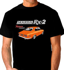MAZDA  RX2  COUPE  ROTARY 12A 13B  QUALITY BLACK TSHIRT  (8 CAR COLOURS) BIG FIT