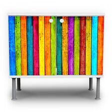 Waschbeckenunterschrank Front Beklebung Design Badschrank Bunte Holzlatten Möbel
