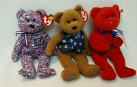 Ty Beanie Babies Lot of 3 Bears With Tags All Star Dad, Thomas, Usa